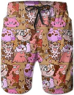 Men's Swim Trunks Quick Dry Summer Holiday Beach Shorts with Mesh Lining Pig Mud Bathers Beachwear