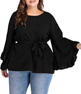 Women's Plus Size Boatneck Bell Sleeve Blouse Flare Casual Loose Top