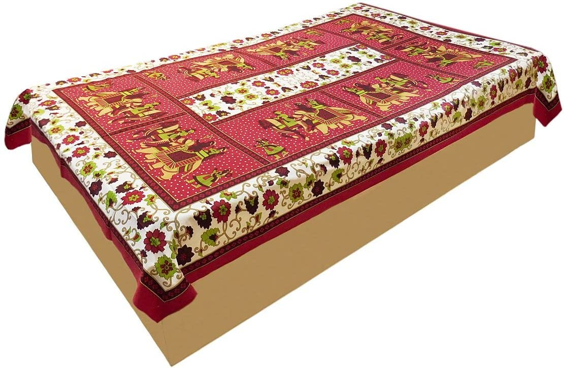 DollsofIndia King Max 57% OFF Max 84% OFF on Elephant Print Single Bedspre Cotton Red