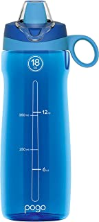 Pogo BPA-Free Plastic Water Bottle with Soft Straw Lid, 18oz.