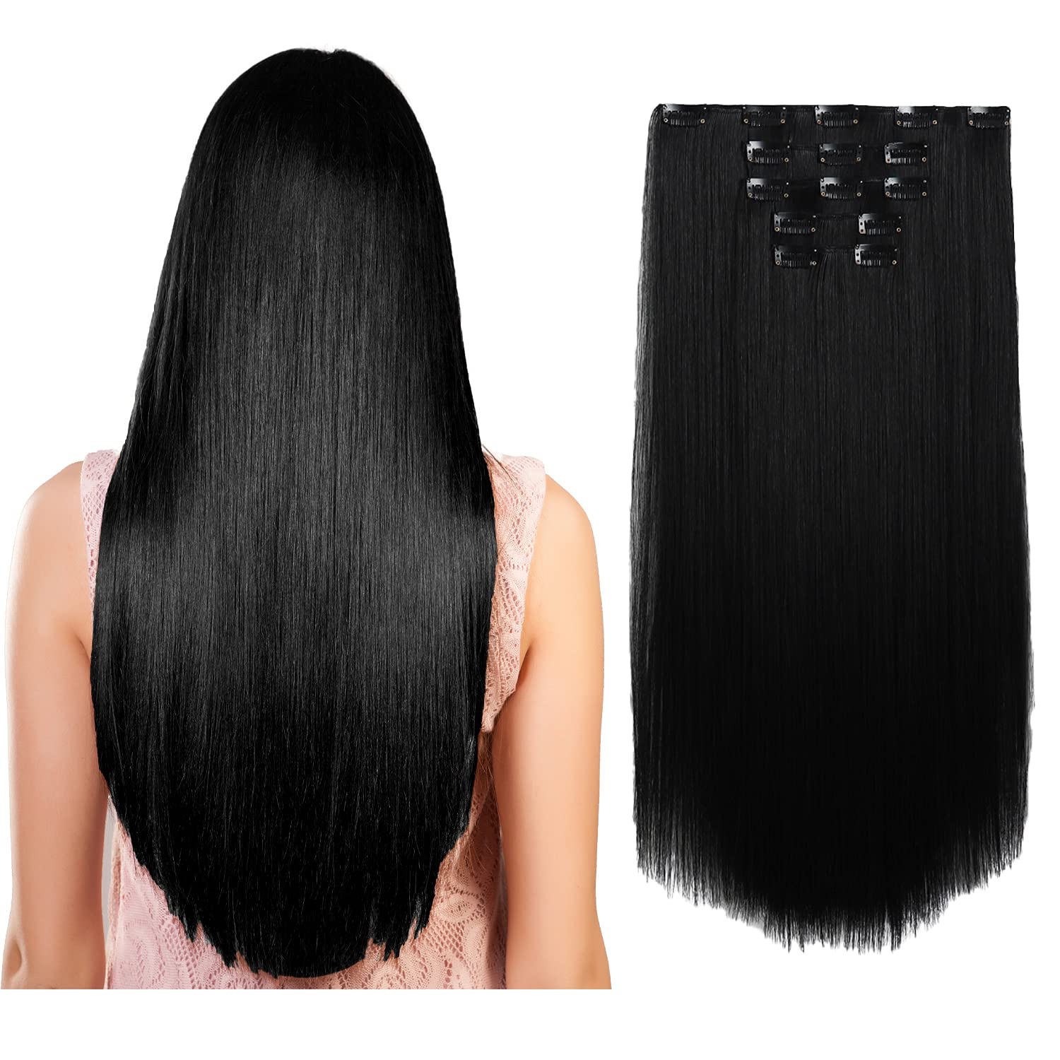 Clip in Hair Extensions Jet Black Inch New mail order 5PCS Straight Long Thi 18 trend rank