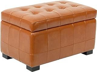Safavieh Hudson Collection Nolita Leather Small Storage Bench, Saddle