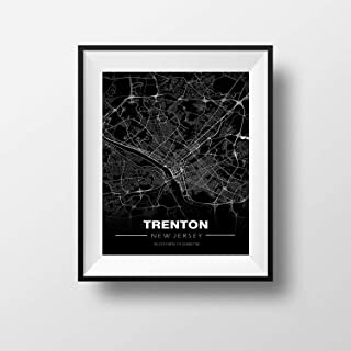 Trenton, New Jersey Minimalistic Map - Poster Print Artwork - Professional Wall Art Merchandise - Coordinates, Black and White