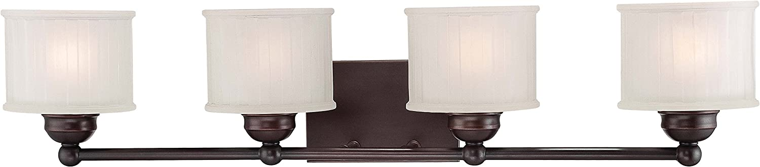 Minka Lavery Wall Light Fixtures 6734-167, 1730 Series Reversible Glass Bath Vanity Lighting, 4 Light, 400 Watts, Bronze