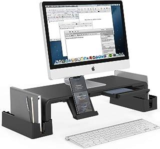 Support de moniteur MiiKARE avec rangement, rehausse d'écran réglable en hauteur avec tiroir + 2 supports de rangement sup...
