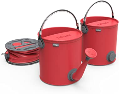 COLOURWAVE Collapsible 2-in-1 Watering Can/Bucket, 7-Liter, Red Hot