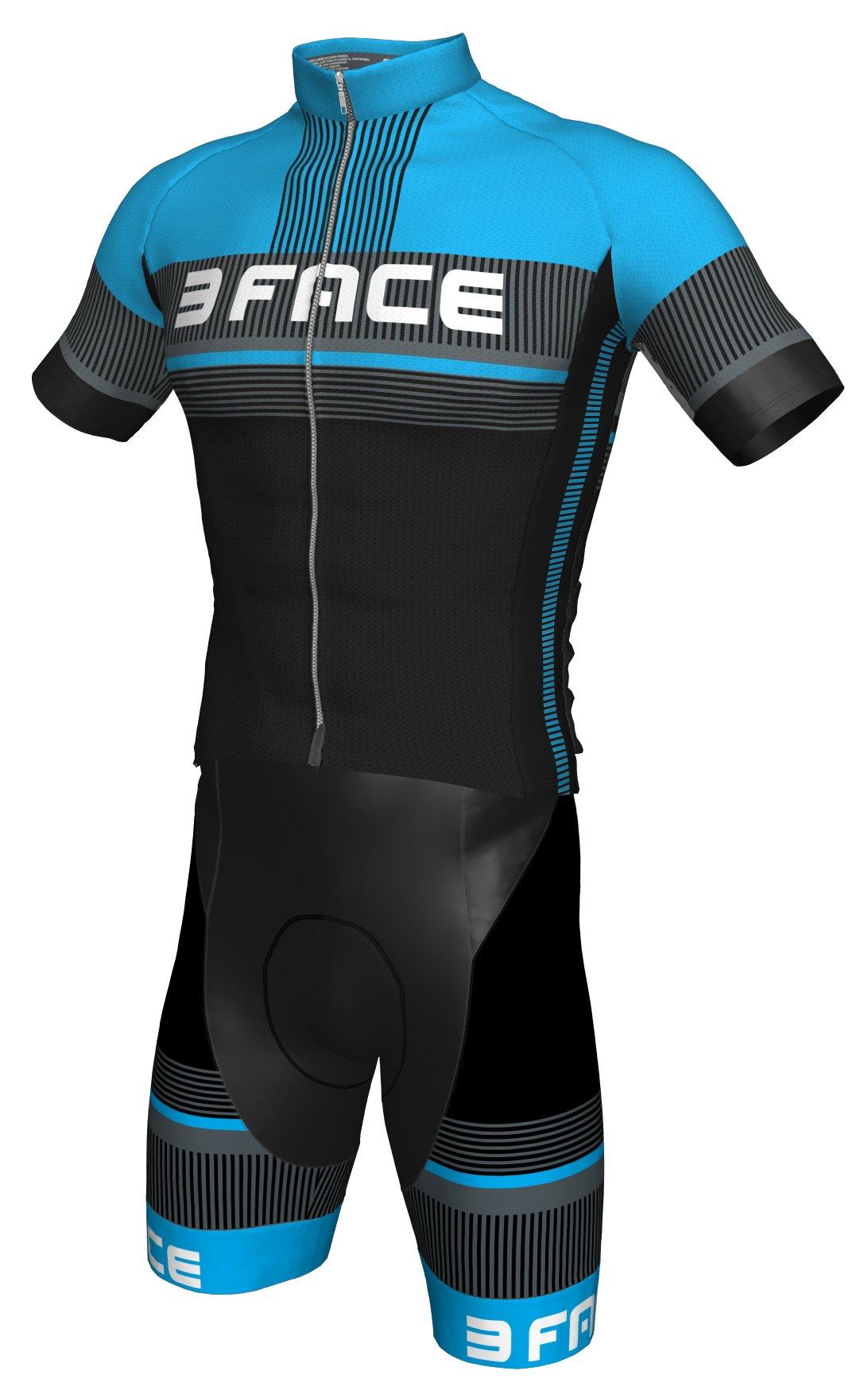 Threeface - Conjunto de Verano para Ciclismo, Camiseta + Peto Deal, Ropa para Bicicleta MTB (Azul, M): Amazon.es: Deportes y aire libre