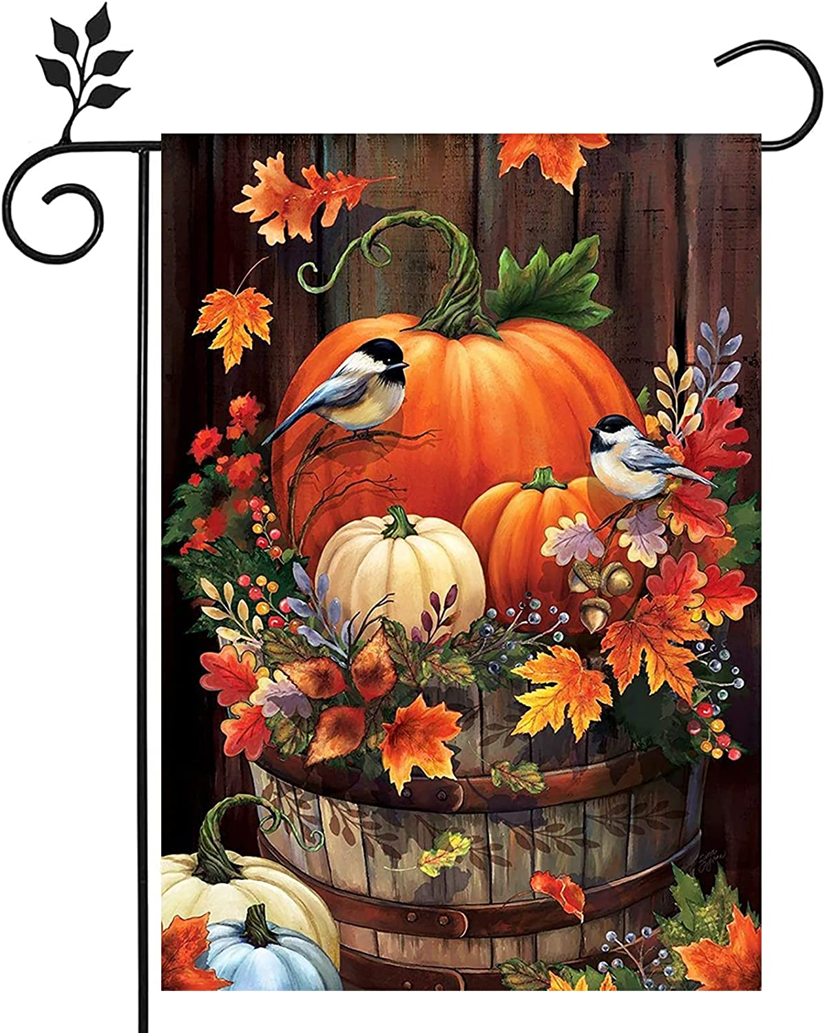 Fall Garden Flags Decorations for Home Outdoor,Yard Flags Decor 12 X 18 Inch Double Sided,Halloween Thanksgiving Pumpkins Bird Garden Flag Front Porch Decorations