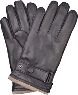 Men's Touchscreen Lambskin Winter Leather Gloves Cashmere Lined