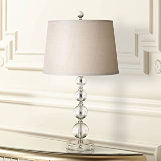 Herminie Modern Accent Table Lamp Stacked Clear Acrylic Ball Open Design Off White Drum Shade for Living Room Family Bedroom - 360 Lighting