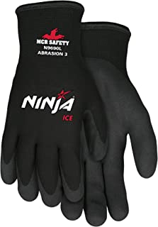 Memphis Glove N9690M Ninja Ice 15 Gauge Black Nylon Cold Weather Glove, Acrylic Terry Inner, HPT Palm and Fingertips, Medium, 1 Pair
