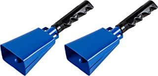 Cowbell with Handle - 2-Pack Cow Bell Noismakers, Loud Call Bells for Cheers, Sports Games, Weddings, Farm, Blue, 3 x 9.125 x 2 Inches