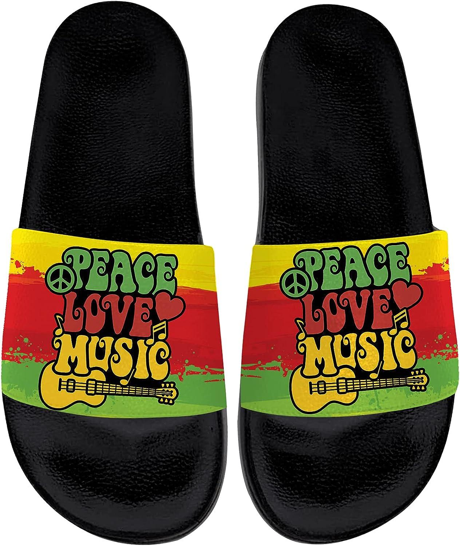 Peace Love Sandals for Women Men Comfort Open Toe Slides Sandal Non-Slip for Beach Bathroom Pool