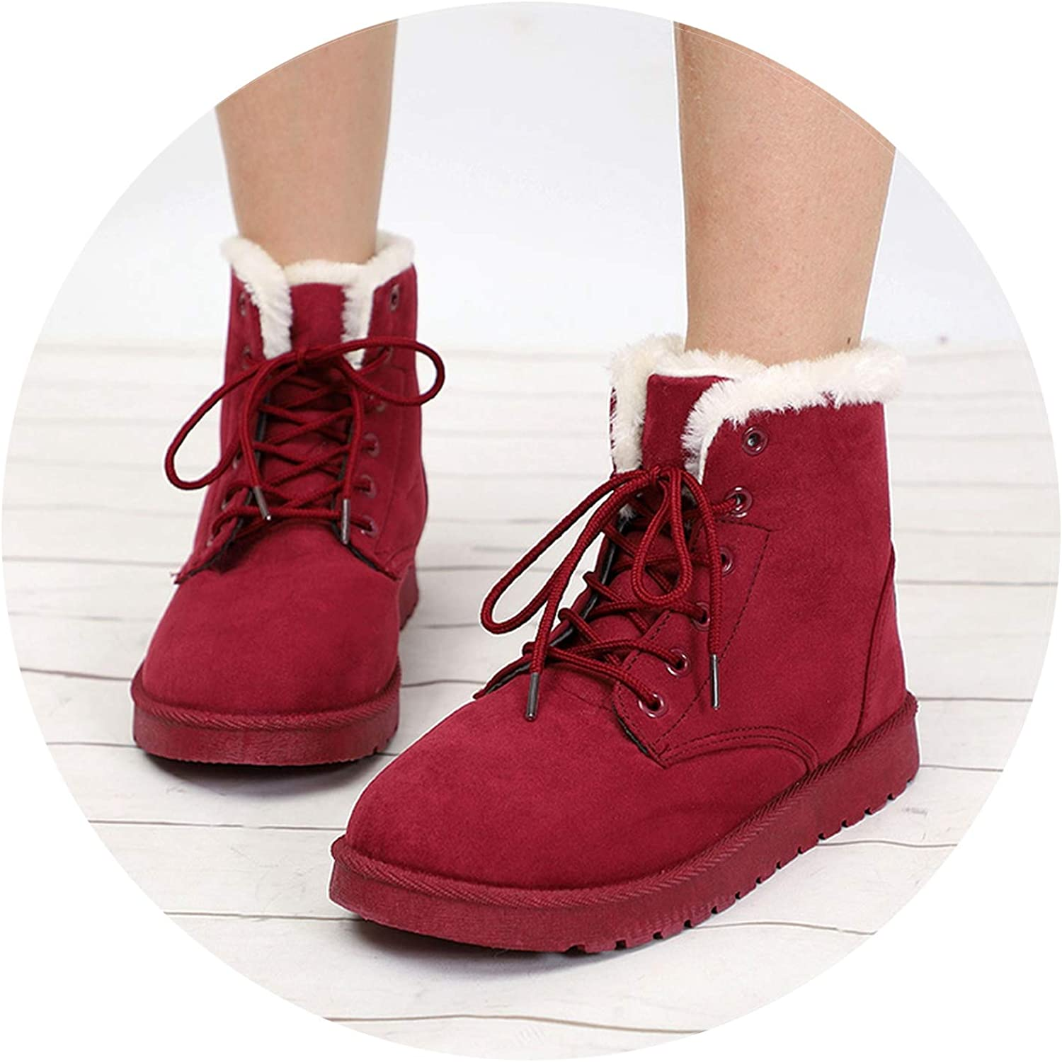 Women Winter Snow Boots Warm FlatPlatform Lace Up shoes Flock Fur Suede Ankle Boots