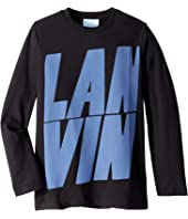 Lanvin Kids - Long Sleeve T-Shirt with Oversized Printed Logo (Little Kids/Big Kids)