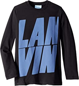 Long Sleeve T-Shirt with Oversized Printed Logo (Little Kids/Big Kids)