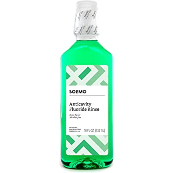 Amazon Brand - Solimo Anticavity Fluoride Rinse, Alcohol Free, Mint, 18 Fluid Ounces, Pack of 1