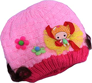 GRAPPLE DEALS Multicolour Warm Woollen Cap with Hair for Baby Girls (Age 1 to 3 Years)