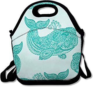 Lunch Bag for Women Men Insulated Travel Blue Aqua Pattern Whale Paisley Doodle Mehndi Adorable Aquarium Aquatic Baby Design Happy Lunch Tote for School or Work