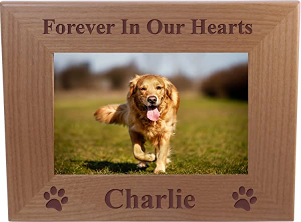 Forever In Our Hearts Custom Dog Memorial Wood Picture Frame Fits 4x6Inch Picture 4x6 Horizontal