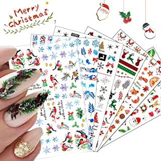 10 Sheets Christmas Nail Art Stickers Decals, 3D Self-Adhesive Nail Stickers with Snowflake Santa Claus Snowman Elk Bell C...