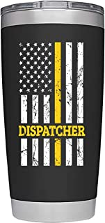 911 Dispatcher Gifts | Large 20oz Travel Tumbler/Mug | with Premium Sliding Lid | for Coffee or Cold Drinks | Thin Gold Line Flag | Perfect Glass for 911 Professionals by Globodyne Tumblers