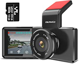 "WiFi Dash Cam, GERMID Car Dashboard Recorder,16GB MicroSD Card Included, Compatible with iPhone/Android Phone, 3"" LCD, Supercapacitor,1080P FHD, Parking Monitor, Night Vision,OBD Port"
