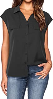 Lotusmile Women's Dressy Lapel Button Down Shirts for Work Office Business Casual Chiffon Blouse Tops