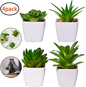 YHmall Artificial Plants, 4 PCS Mini Fake Succulent Plants Potted Series