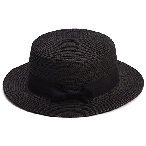 f59245f8 Lawliet Lady Boater Sun Caps Ribbon Round Flat Top Straw Beach Hat Summer  Hats for Women