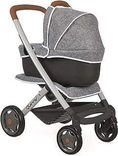 Smoby - Quinny 3in1 Multifunktions-Puppenwagen Grau - für Puppen bis 42 cm – wandelbarer Puppenwagen für unterschiedliche bedürfnisse im Quinny-Design, für Kinder ab 3 Jahren