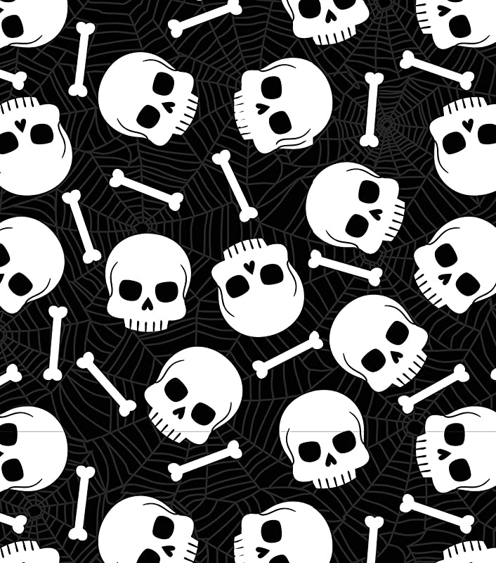 Black And White Skull And Bones Vinyl Reusable Tablecloth 60 Inch Round For Halloween Parties School Events Entertaining And More