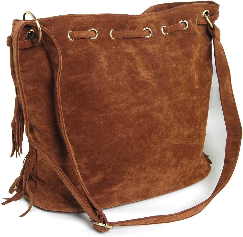 Graceful Oval Fringe Handbag Shoulder Bags Fringed Bag for Ball Party Show (Coffee)