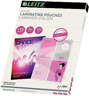 Leitz 33808 Paquet de 100 Pochettes de plastification à chaud 125 microns A4 Brillant