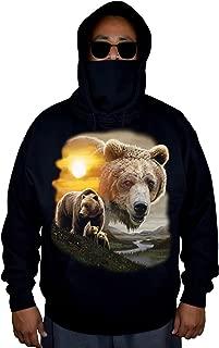 Men's American Grizzly Bear Sun Black Mask Hoodie Sweater