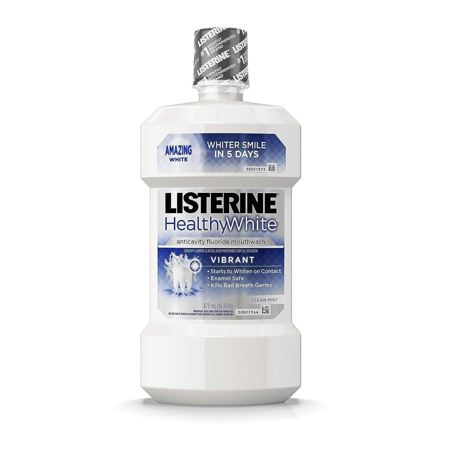 天窓真空不一致Listerine 健康的な白い鮮やかなマルチアクションフッ化物口リンス、発泡虫歯予防マウスウォッシュ歯のホワイトニング口臭、16フロリダファイティングください。オズ