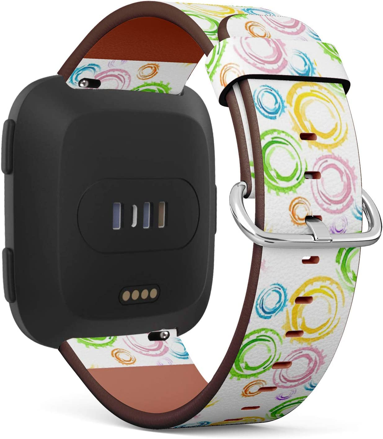 Compatible with Fitbit Versa/Versa 2 / Versa LITE - Quick Release Leather Wristband Bracelet Replacement Accessory Band - Watercolor Rings Main