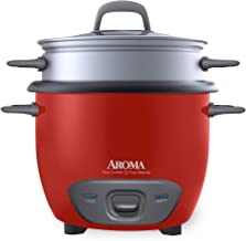 Aroma Housewares ARC-743-1NGR 6-Cup (Cooked) (3-Cup UNCOOKED) Pot Style Rice Cooker and Food Steamer,Red