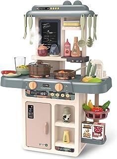 F4GOGO - Juego de cocina para niños con luces y sonidos realistas, simulación de aerosol, fregadero con agua corriente, accesorios y juguetes de juego de rol para niños y niñas