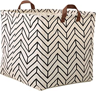 Square Canvas Toy Storage Bins Basket with Handle Collapsible Toy Organizer for Nursery Storage, Kid's Toy & Laundry, Gift Baskets (Geometric)