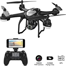 $145 » GPS Drone with Camera Live Video 1080P HD FPV RC Quadcopter Drones with Camera Follow Me Mode, Altitude Hold, Long Range Control, GPS Auto Return Home - BEEYEO Black