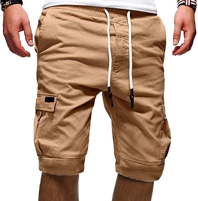 Angbater Mens Cotton Cargo Shorts Casual Sport Drawstring Pockets OutdoorShort Pants