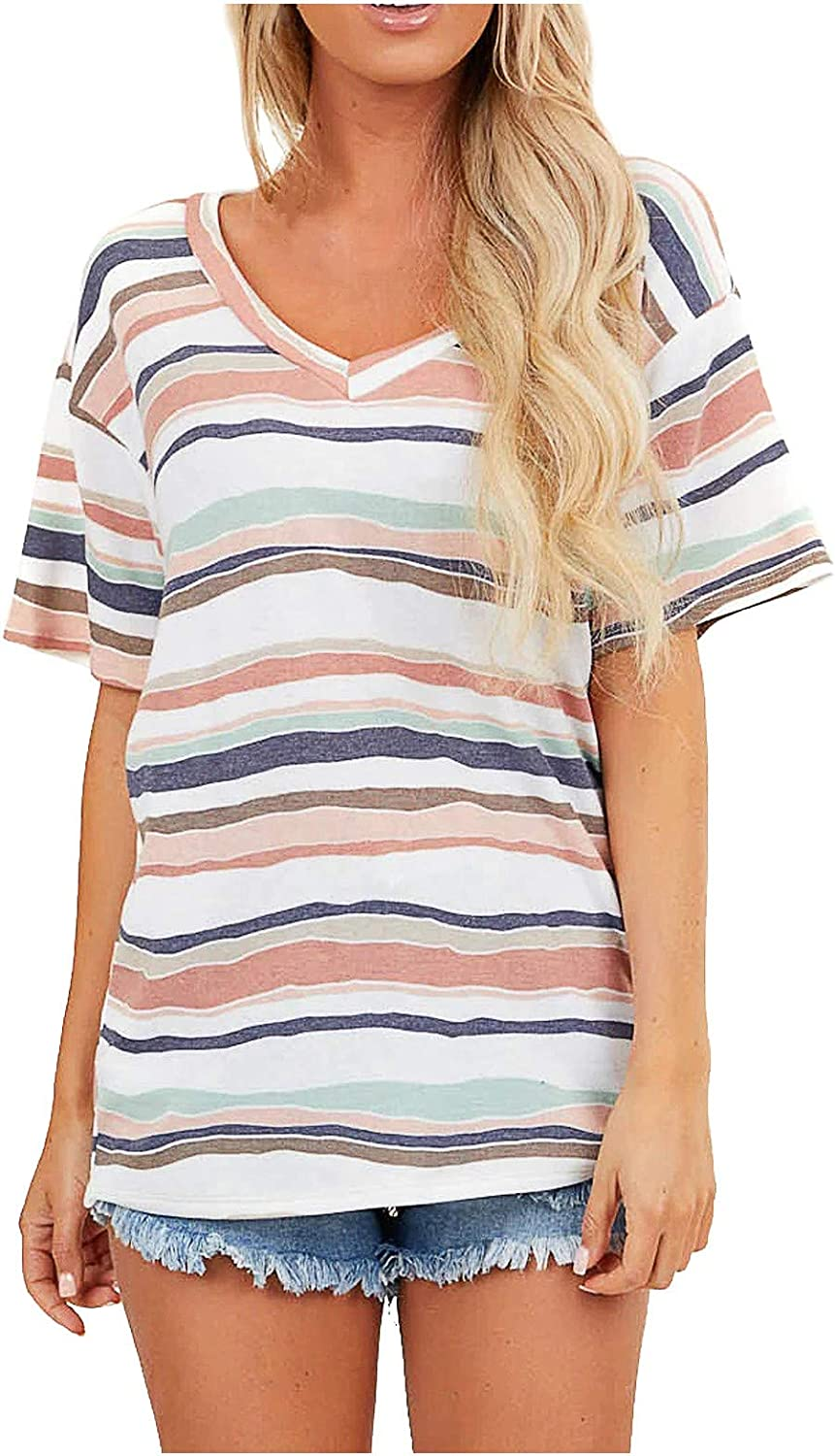 Stripe Splicing Short Sleeve Tops for Women Casual V Neck Cute Blouse Trendy Colorful Loose Daily Tee Shirt