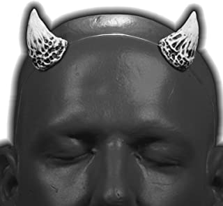 Puck v1 Bright White & Black Devil / Demon Horns w/ adjustable clear headband