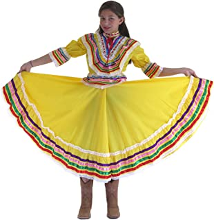Mexican Clothing Co Girls Mexican Jalisco Dress (Blouse and Skirt) Poplin