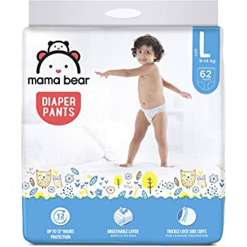 Amazon Brand - Mama Bear Baby Diaper Pants, Large (L) - 62 Count