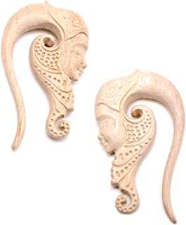 Womens Ear Plug Gauges Organic Hand Carved Wood Forest Nymph Hanger Plugs Stretched Ears