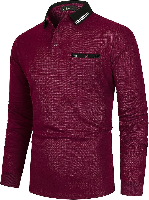 GNRSPTY Polos Manga Larga Hombre Slim Fit con Bolsillo Real Elegante Camisas Color de Costura Golf Deporte Tennis Poloshirt Camisetas Invierno