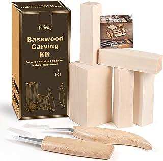 Pllieay 7 pièces Kit de sculpture en tilleul, y compris 5 blocs de sculpture en bois tendre non finis avec 2 couteaux en b...