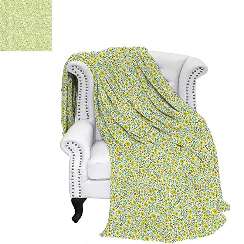 Greentravel blanketDoodle Style Cute Kids Girls Pattern with Daisy Flower Bloomsthrow Blanket for Couch 90